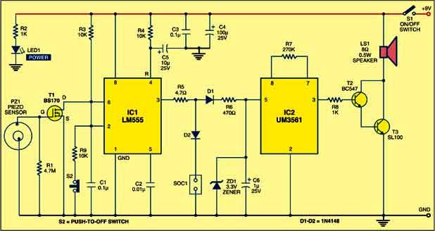 smart vibration sensor alarm circuit