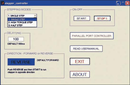 Fig.7: Screenshot of the program output of stepper motor controller