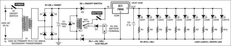 LED based reading lamp circuit