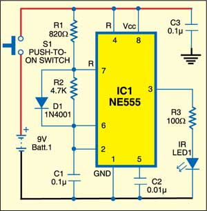 IR remote control for home appliances: Transmitter circuit