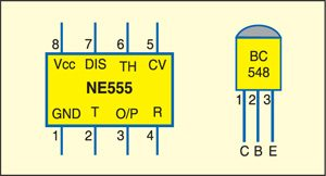 Fig. 4: Pin configurations of NE555 and BC548