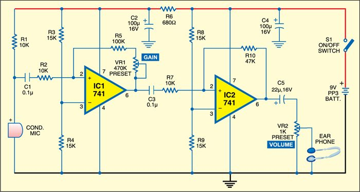 Low cost hearing aid circuit