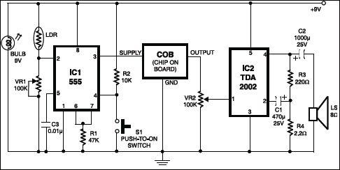 fire alarm using 555 IC