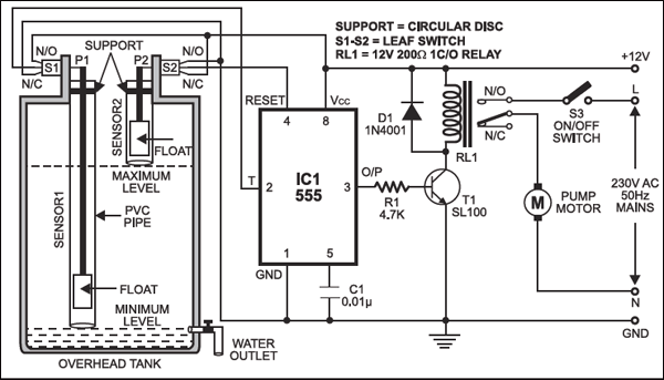 Automatic Water Level Controller Detailed Circuit Diagram Available