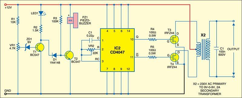 Battery level indicator &inverter circuit
