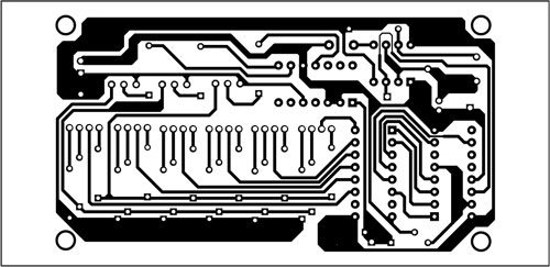 Fig. 3: A single-side PCB layout in actual size for seven-colour LED lighting circuit