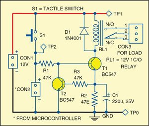 Circuit diagram of the power-saving relay driver