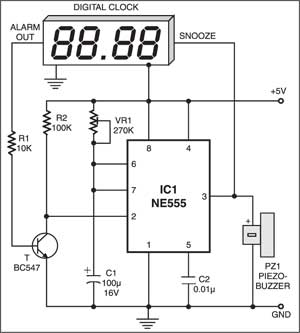 Fig. 1: Auto-snooze circuit for digital alarm clock with snooze facility
