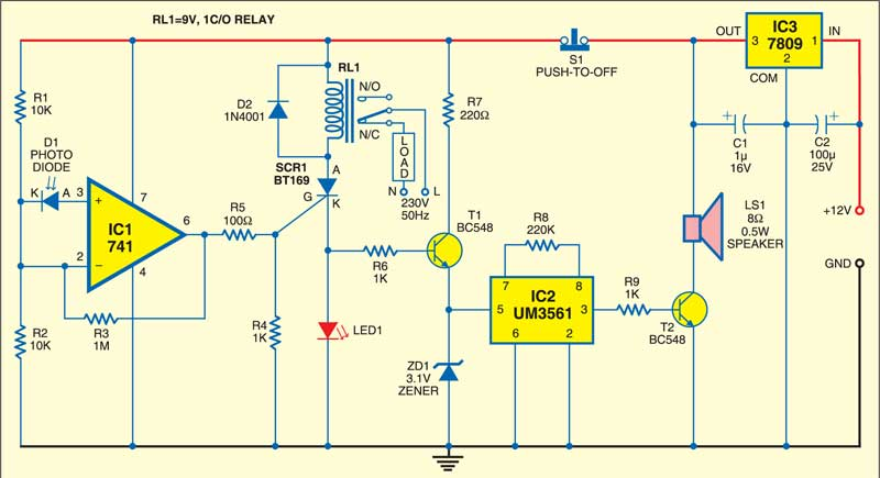 Fig. 1: Circuit of the photodiode based fire detector