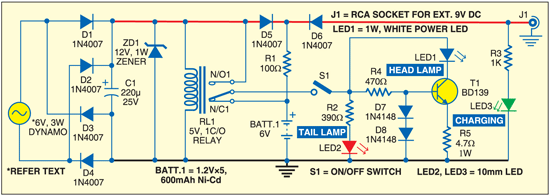 Fig. 1: Circuit for smart bicycle light