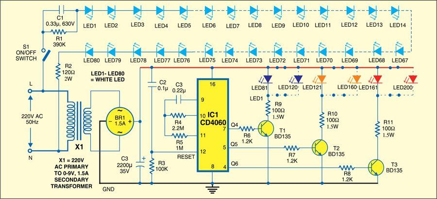 Fig. 1: Circuit for multicolour curtain backlight