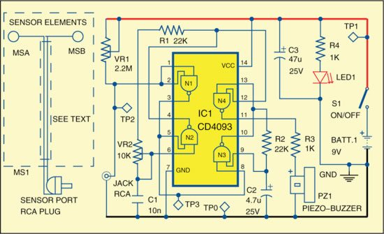 Fig. 2: Circuit of bedwetting alarm