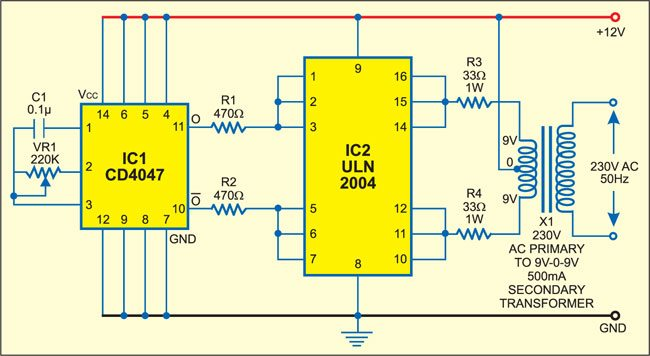 simple low power inverter circuit (DC to AC converter)