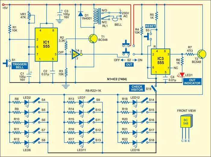 Fig. 1: Circuit diagram of doorbell cum visitor indicator