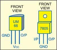 Fig. 2: Pin configurationsof UM66 and 5V regulator