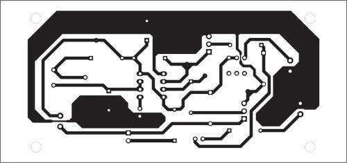 Fig. 2: An actual-size, single-side PCB for the remote control using wireless doorbell