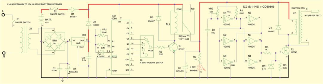 Fig. 1: Multifunction ozone generator circuit