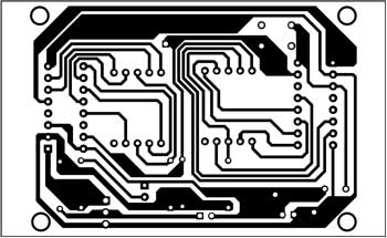 Fig. 2: An actual-size, single-side PCB for the visitor counter