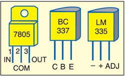 Fig. 2: Pin configurations of 7805, BC337 and LM335