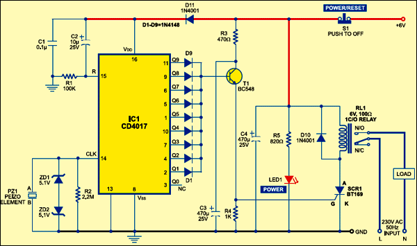 Sensitive Vibration Detector | Detailed Circuit Diagram AvailableElectronics For You