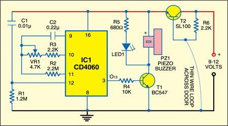 Wire Break Alarm Circuit