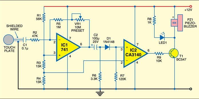 touch sensitive alarm circuit