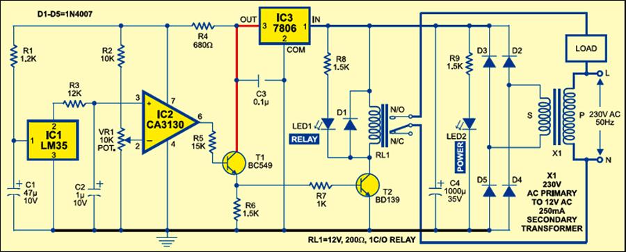 Heat sensitive switch circuit