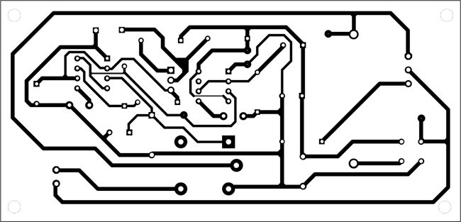 Fig. 2: An actual-size, single-side PCB for the soldering iron tip preserver