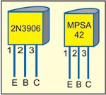 Fig. 2: Pin configurations of 2N3906 and MPSA42