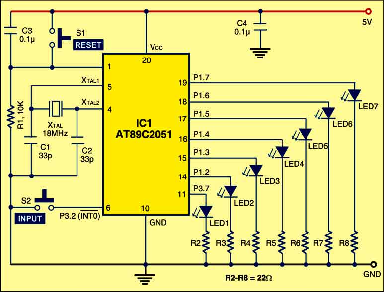 AT89C2051 based Electronic Dice Circuit