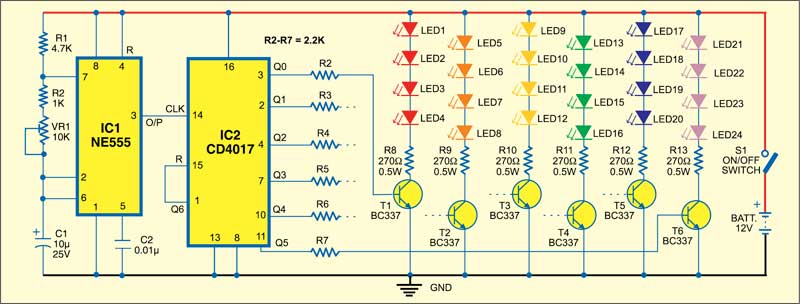 Fig. 1: Rainbow clock circuit