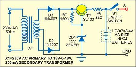White LED Based Emergency Lamp and Turning Indicator: Battery charger