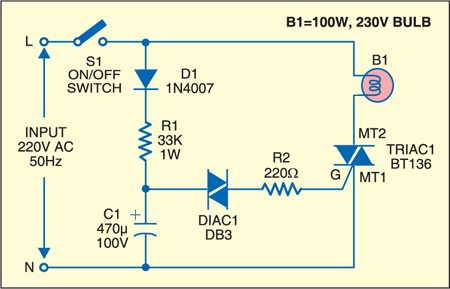 DIAC controlled flasher circuit