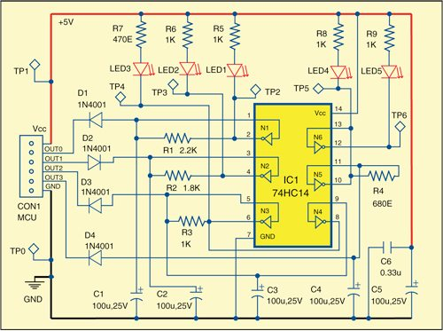 Fig. 1: Circuit for efficient LED blinking for embedded systems