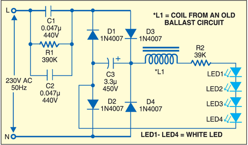 Fig. 1: An efficient night lamp circuit