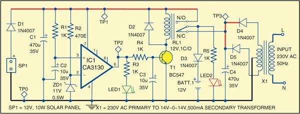Fig. 2: Hybrid solar charger circuit