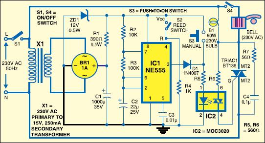 Fig.1: Security alarm circuit