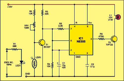 Circuit for generator room light