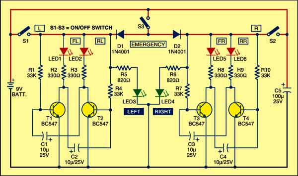 Circuit of bicycle turn indicator