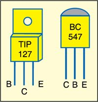 Pin configurations of TIP127 and BC547