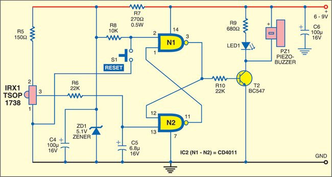Fig. 2: Infrared Burglar Alarm: Receiver circuit