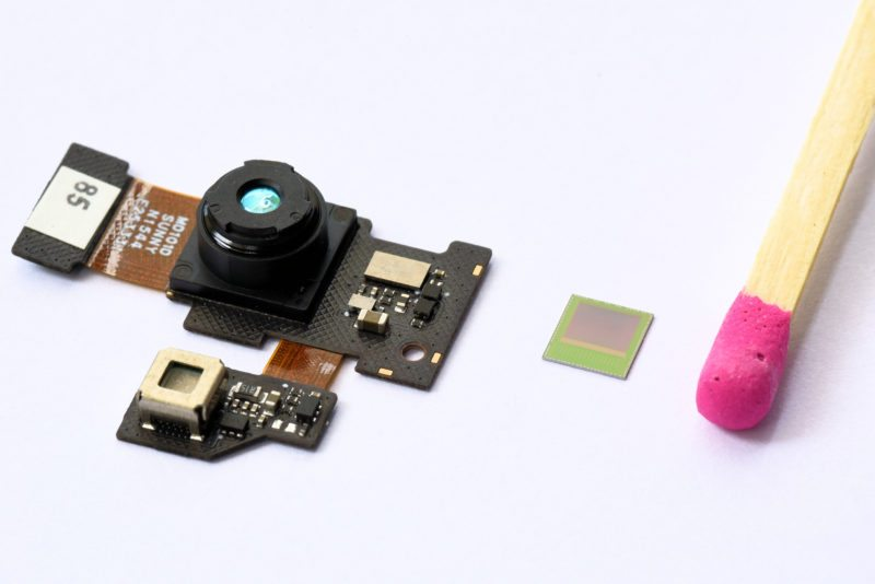 Real3 camera Module. Matchstick for size