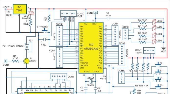 Circuit diagram of Arduino for ATmega32