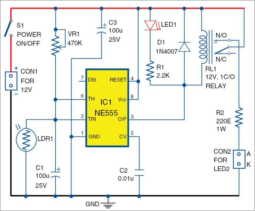 Circuit diagram of the anchor light