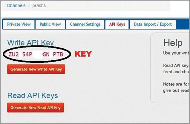 Key generated for posting data on ThingSpeak