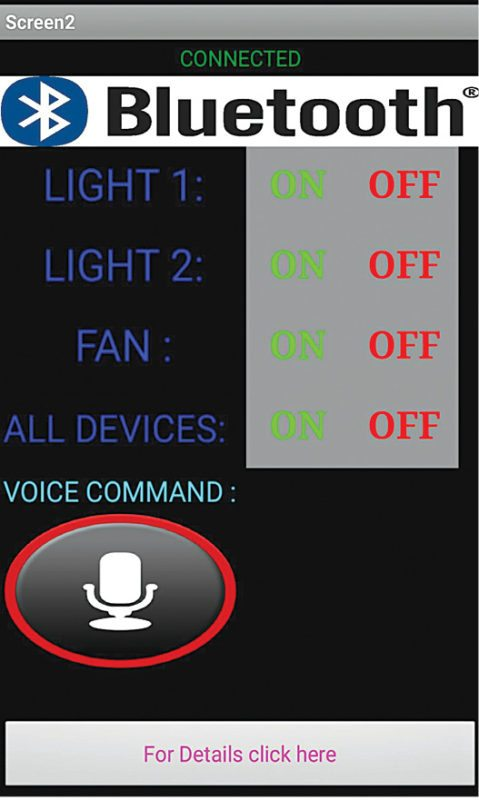 Fig. 3: Control panel on Android smartphone