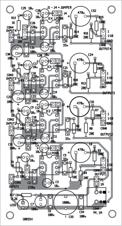 Component layout for Quadraphonic Amplifier