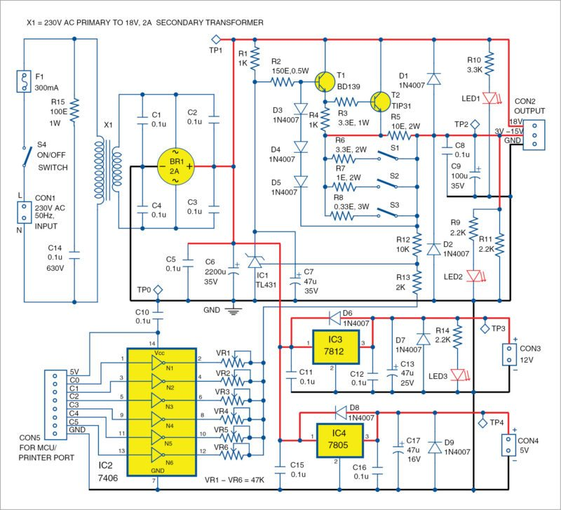 Circuit diagram of Programmable Power Supply With TL431
