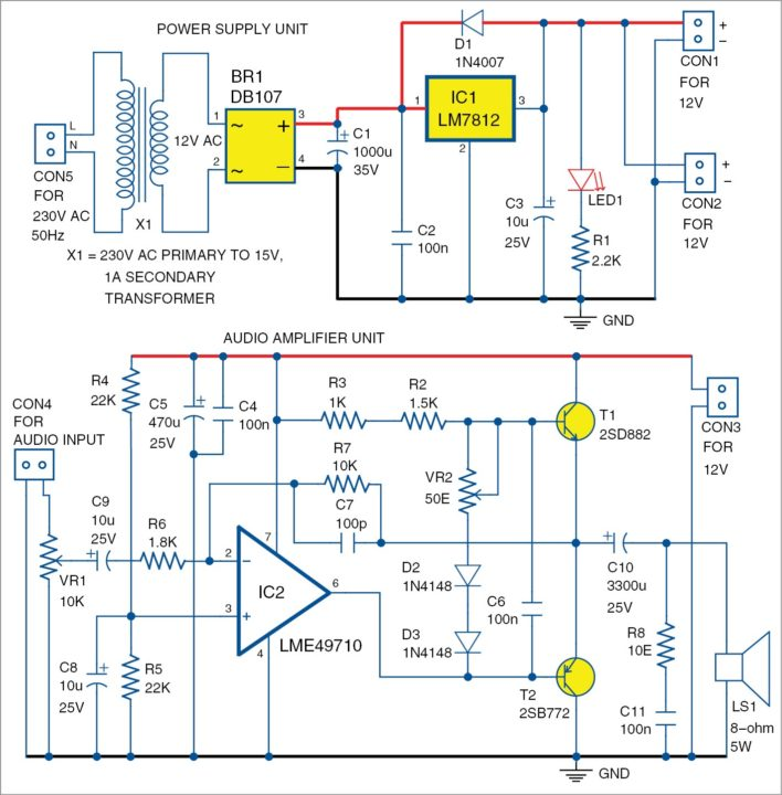 Fig. 2: Circuit diagram of the LME49710 based audio amplifier