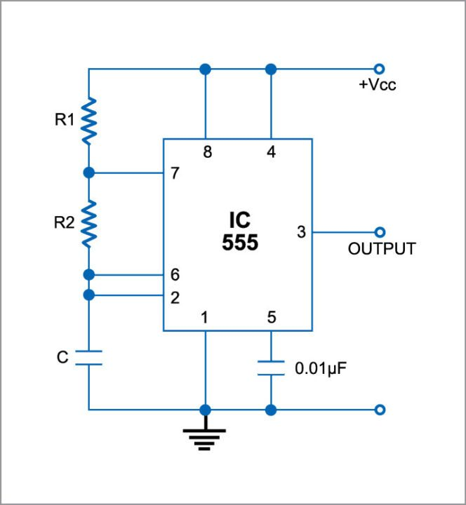 Astable multivibrator using 555 IC